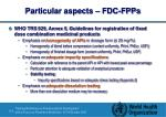 particular aspects fdc fpps