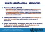 quality specifications dissolution