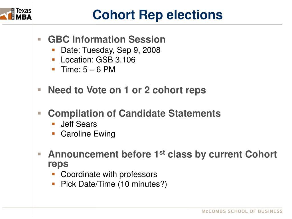 Cohort Rep elections