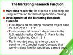 the marketing research function