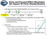 early and focused effort maximizes the impact of parts standardization