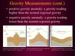 gravity measurements cont