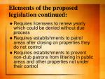elements of the proposed legislation continued