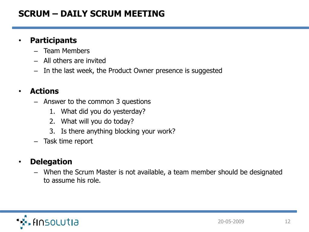 SCRUM – DAILY SCRUM MEETING