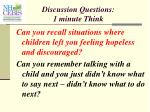 discussion questions 1 minute think