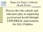 hopes for today a mental health primer
