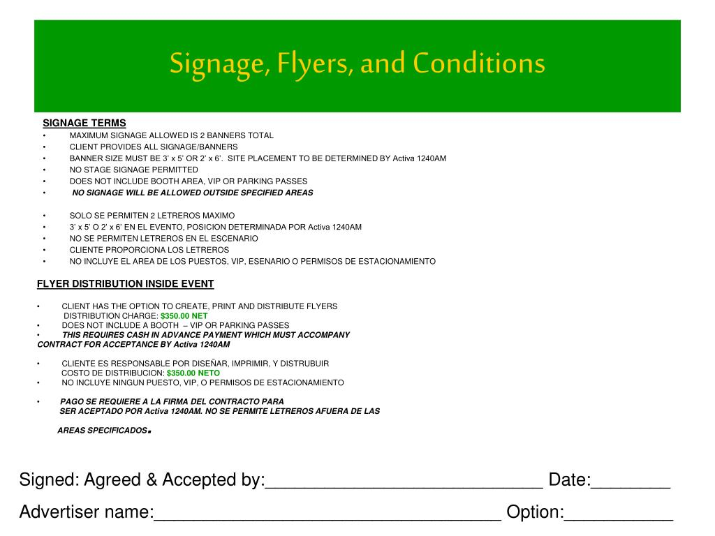 Signage, Flyers, and Conditions