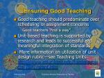 ensuring good teaching