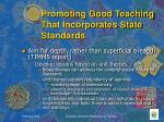 promoting good teaching that incorporates state standards