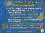 unit teaching barriers real or imagined