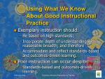 using what we know about good instructional practice