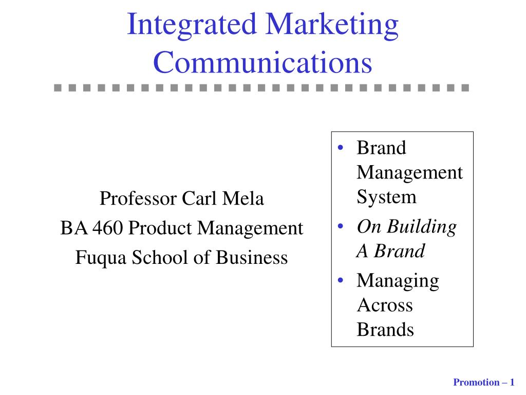 integrated marketing communications l.