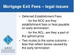 mortgage exit fees legal issues