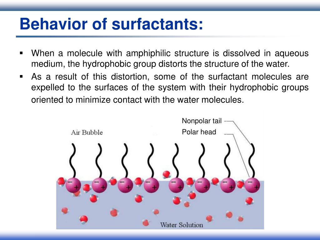 Behavior of surfactants: