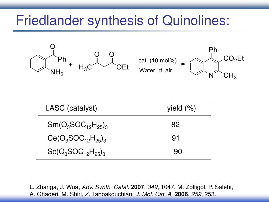 Friedlander synthesis of Quinolines:
