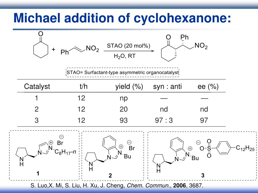 Michael addition of cyclohexanone: