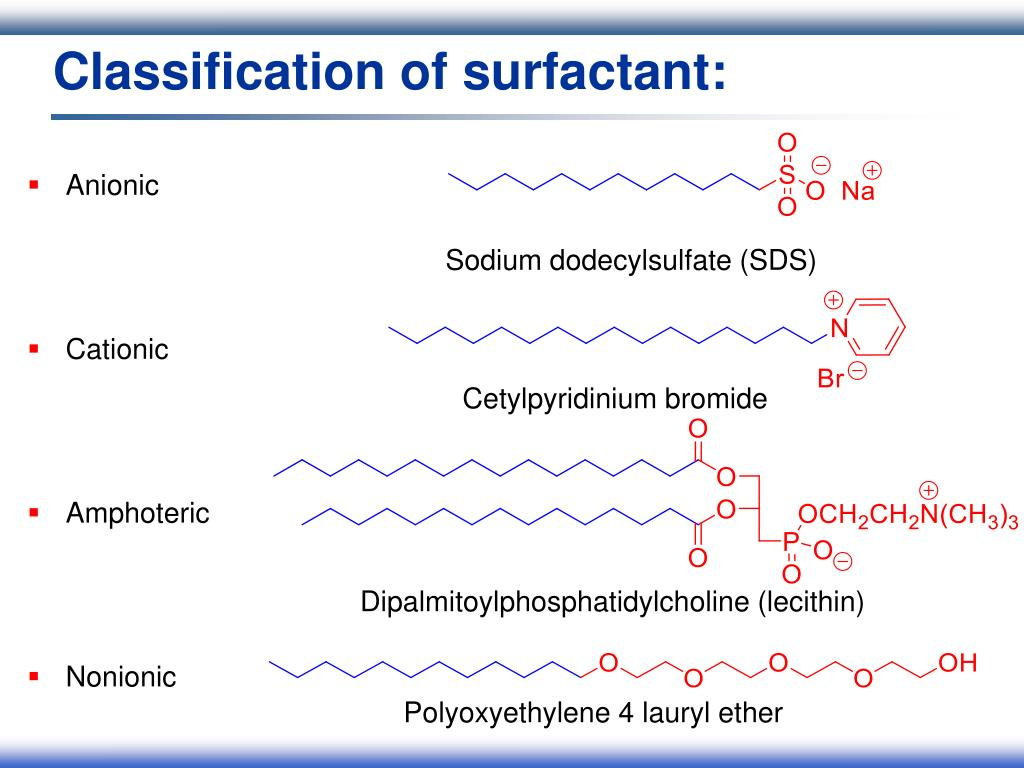 Classification of surfactant: