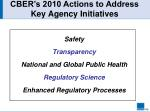 cber s 2010 actions to address key agency initiatives
