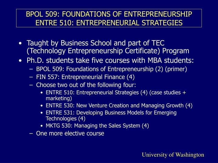 Bpol 509 foundations of entrepreneurship entre 510 entrepreneurial strategies