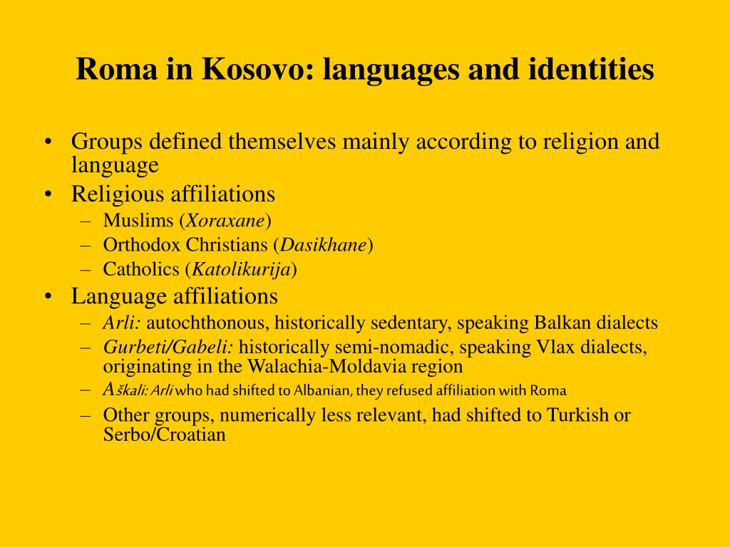 Roma in Kosovo: languages and identities