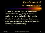 development of incompatibilities19