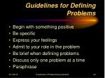 guidelines for defining problems