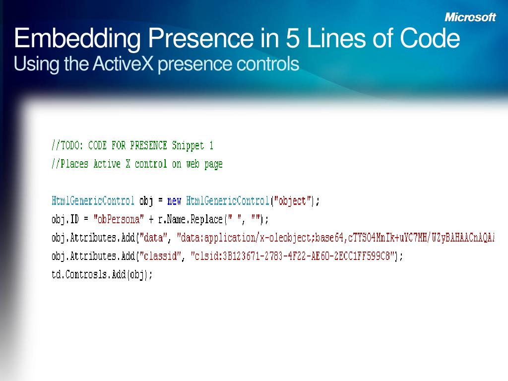 Embedding Presence in 5 Lines of Code