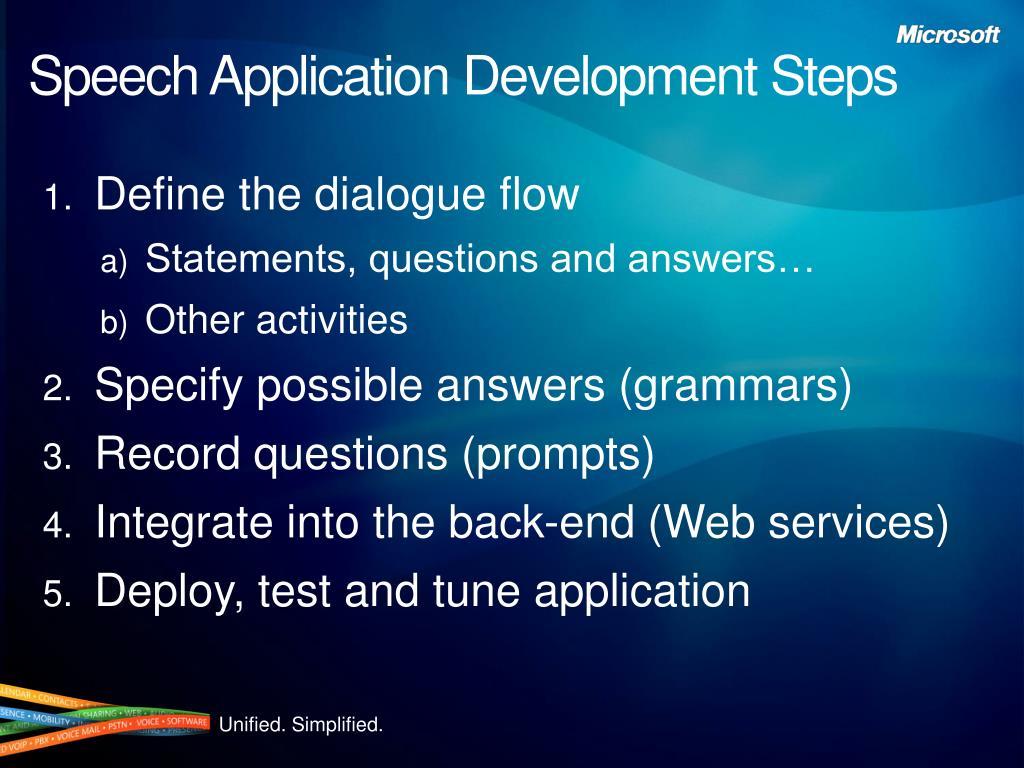 Speech Application Development Steps