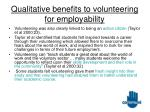 qualitative benefits to volunteering for employability14