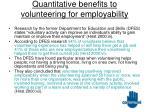 quantitative benefits to volunteering for employability