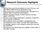 research outcomes highlights