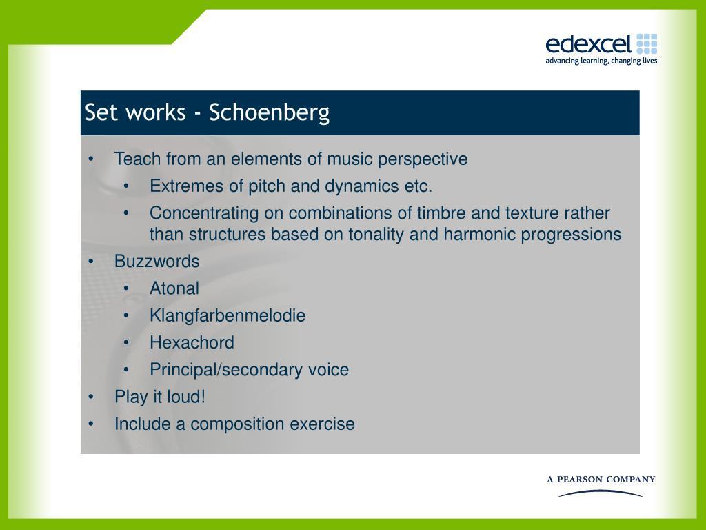 Set works - Schoenberg