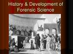 history development of forensic science
