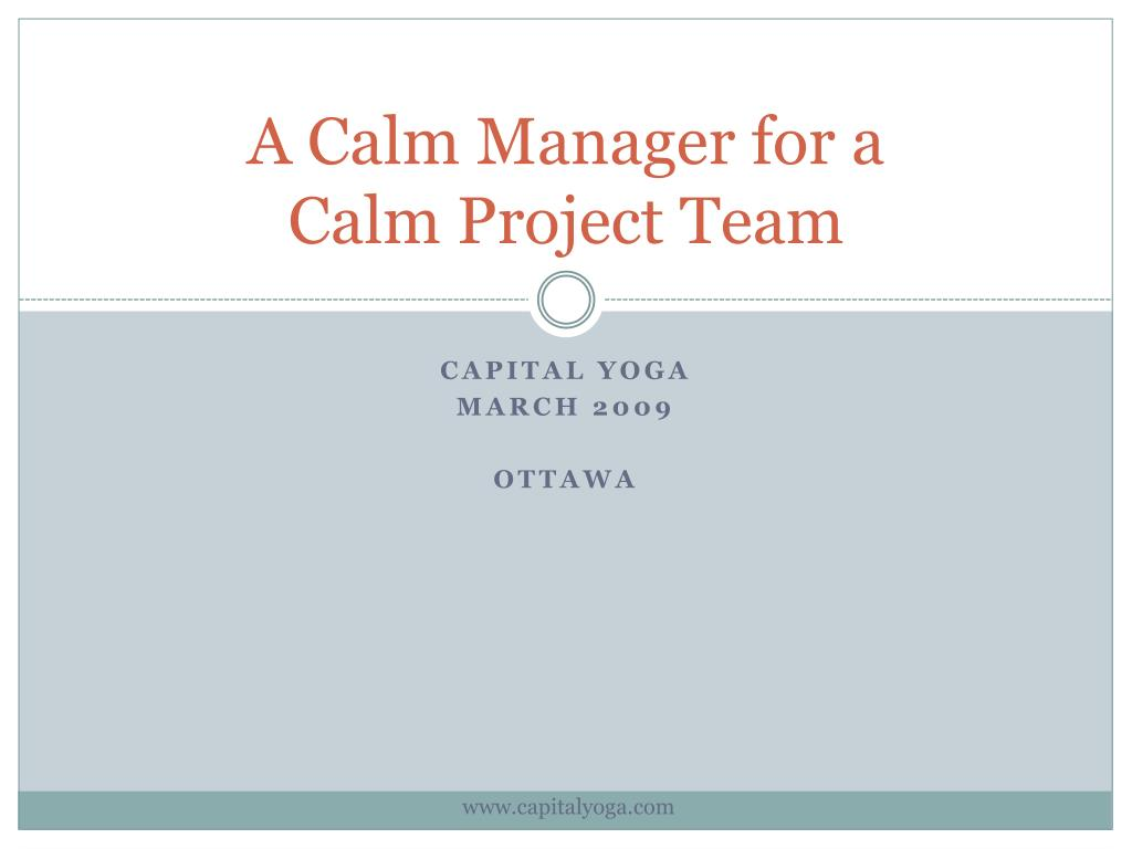 a calm manager for a calm project team l.