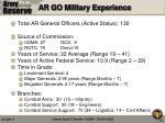 ar go military experience