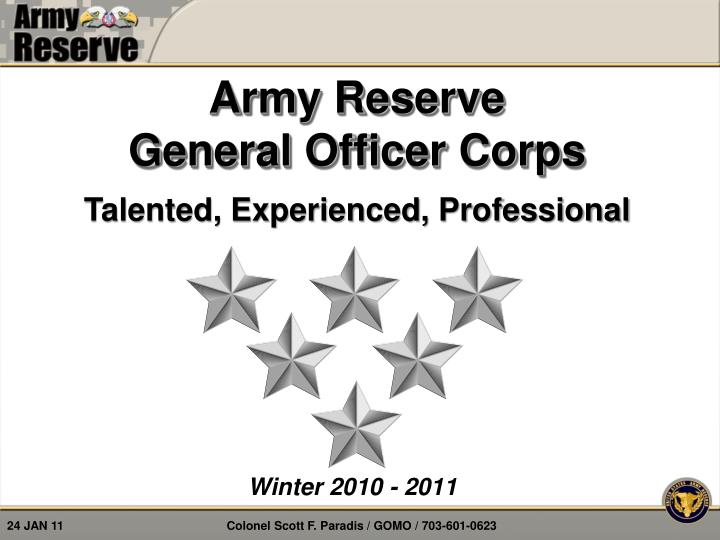 Ppt army reserve general officer corps powerpoint presentation army reserve general officer corps toneelgroepblik Images