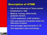 description of utmb
