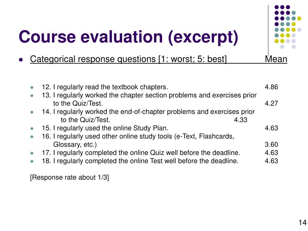 Course evaluation (excerpt)