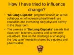 how i have tried to influence change
