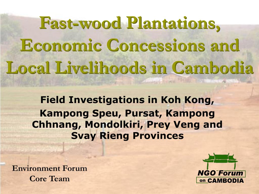fast wood plantations economic concessions and local livelihoods in cambodia l.