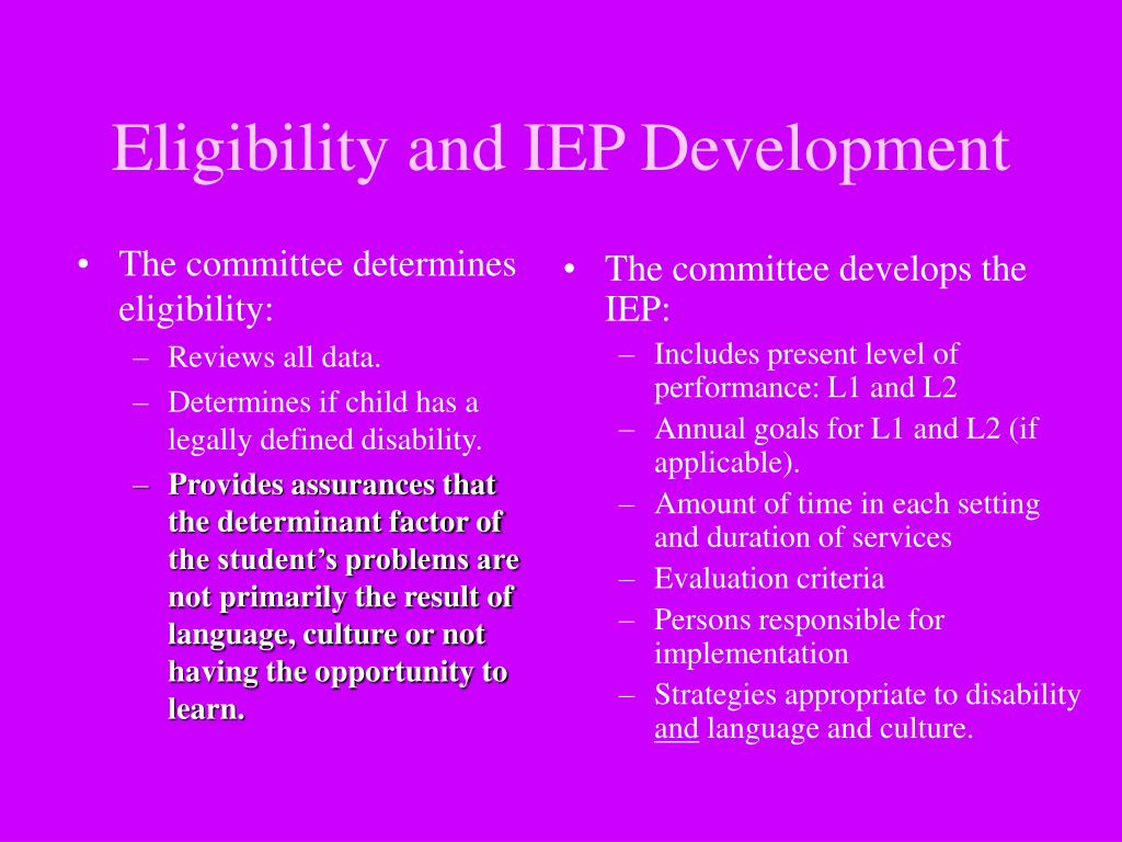 The committee determines eligibility: