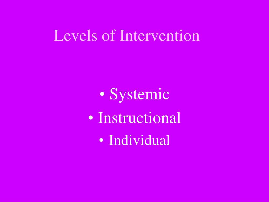 Levels of Intervention