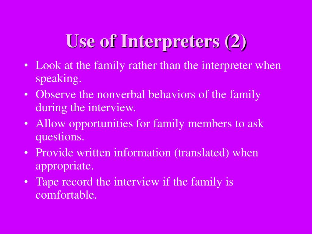 Use of Interpreters (2)