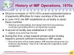 history of imf operations 1970s