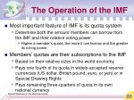 the operation of the imf20