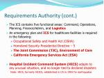 requirements authority cont
