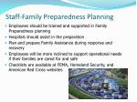staff family preparedness planning