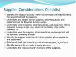 supplier considerations checklist