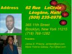 address 62 rue lacroix l og ne haiti 509 235 0976