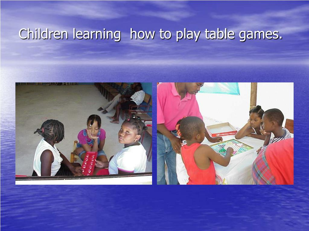 Children learning  how to play table games.